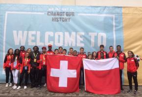 L'équipe suisse au complet à son arrivée à Kaunas. DR