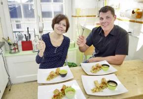 Recette du chef Mathieu Bruno : Croustillants de crevettes et salade de pois chiche