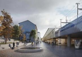 Deux vues de la future zone aménagée derrière la gare, entièrement fermée au trafic automobile. MONNIER ARCHITECTURE DU PAYSAGE