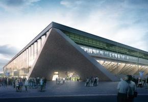 Avec la large façade vitrée, le stade donnera une image d'excellence à la ville. DR