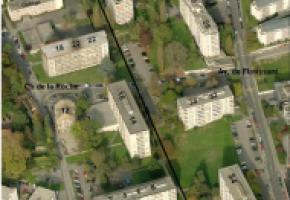 Le quartier de Florissant et les immeubles concernés avec leur numéros. dr