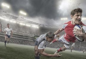 Le rugby un sport de brut pratiqué par des gentlemen? stock