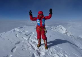 Sophie Davaud au sommet du K2 le 21 juillet dernier. DR