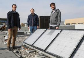 Les trois cofondateurs d'Insolight Laurent Coulot, Florian Gerlich et Mathieu Ackermann.  DR