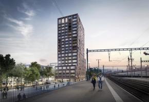 Une vue zoom des futures tours de Malley-Gare vues depuis le parc de Valency