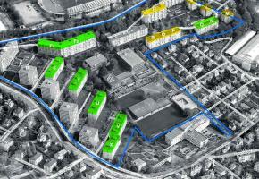 Le plan de quartier prévoit de rehausser les bâtiments de un étage (en jaune) ou de deux (en vert).