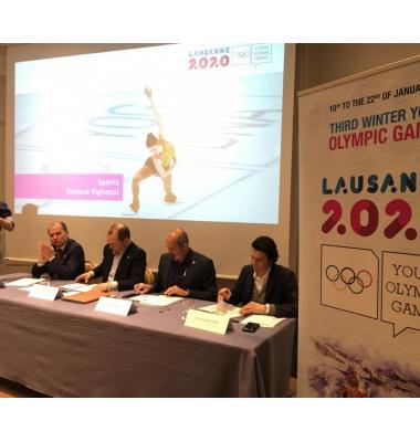 De g. à dr.: Philippe Leuba, Patrick Baumann, Ian Logan, Christophe Dubi, lors de la conférence de presse. pk