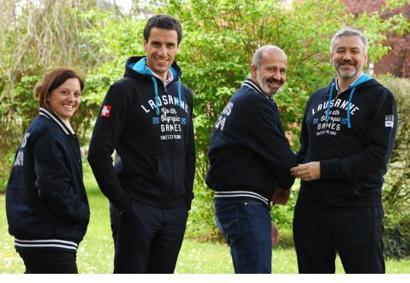 De gauche à droite: Virginie Faivre, Présidente de Lausanne 2020, Tony Estanguet, Président de Paris 2024, Ian Logan, CEO de Lausanne 2020 et Etienne Thobois, CEO de Paris 2024. DR