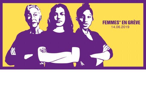 L'affiche de l'Union syndicale suisse en soutien à la grève de ce 14 juin. DR