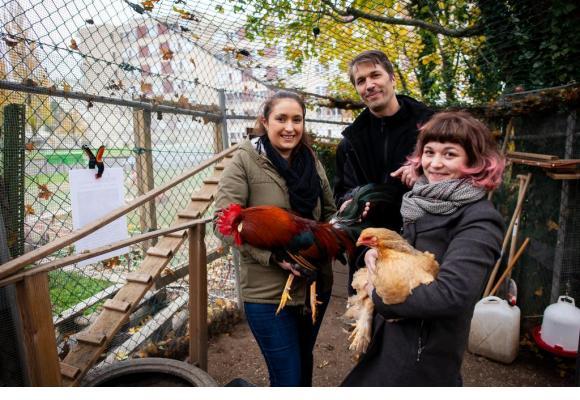 De g. à d.: Vania, concierge, Nicolas Vuilliomenet, propriétaire, et Lisa, locataire, avec Robert le coq et Cendrillon, une poule de race Brahma. MISSON