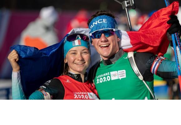 Mathieu Garcia et Jeanne Richard ont remporté la médaille d'or relais mixte individuel. OIS/SIMON BRUTY