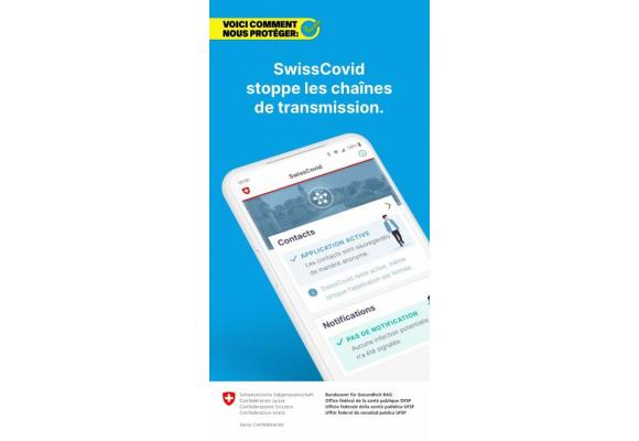 L'applicaiton SwissCovid téléchargeable sur l'Apple Store et Google Play Store. En médaillon, Isabelle Chevalley. DR