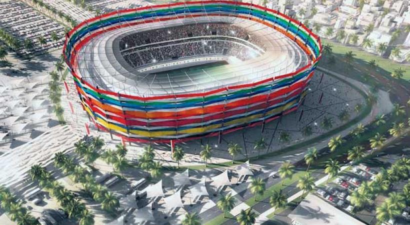 Le stade Al-Gharafa aura une capacité de 44'740 personnes. Sa façade sera composée de rubans représentant les nations qui seront qualifiées en 2022. dr