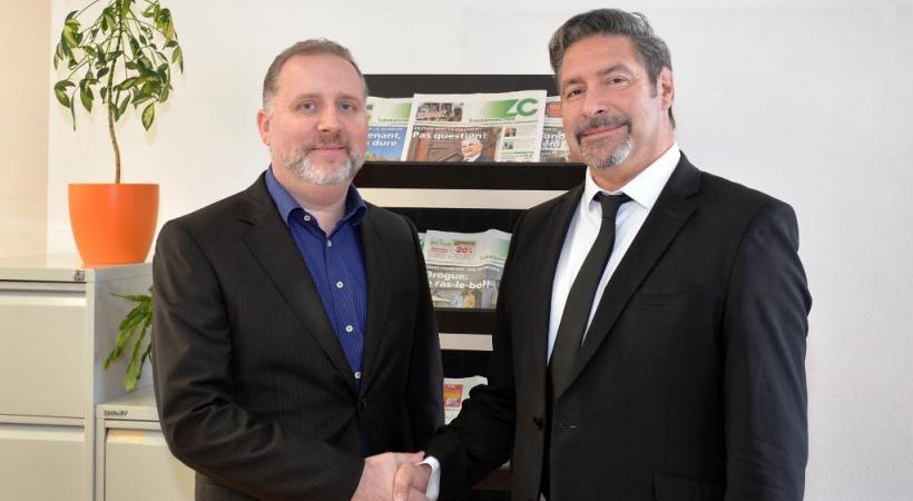Passage de témoin: dès le 1er janvier 2016, Michel Billato, actuel directeur adjoint, prendra les rênes de Lausanne Cités.Pascal Fleury, à gauche sur la photo, dirigera quant à lui le groupe GHI-LC.