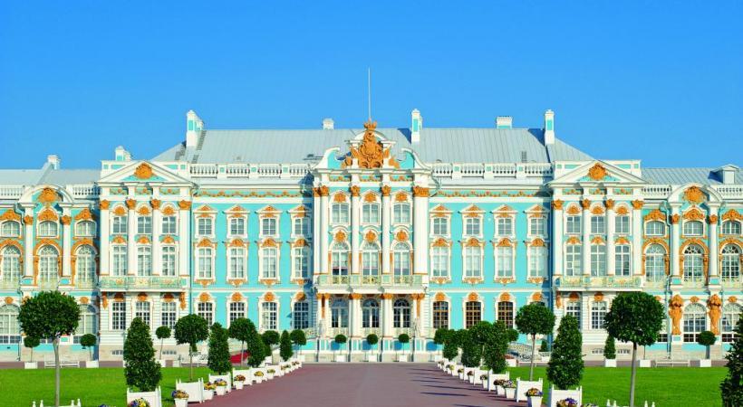 Le Palais Catherine, fleuron de l'architecture baroque russe, à Tsarskoïe Selo, près de Saint-Pétersbourg.