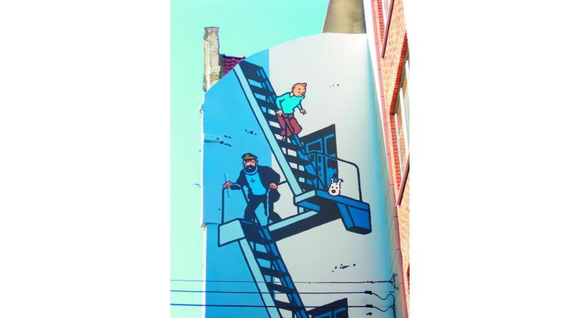Un mur de Bruxelles, estampillé Tintin.