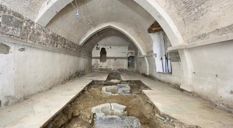 La salle où ont été découvertes les presses de la monnaie vaudoise, dans les caves du Château. Misson