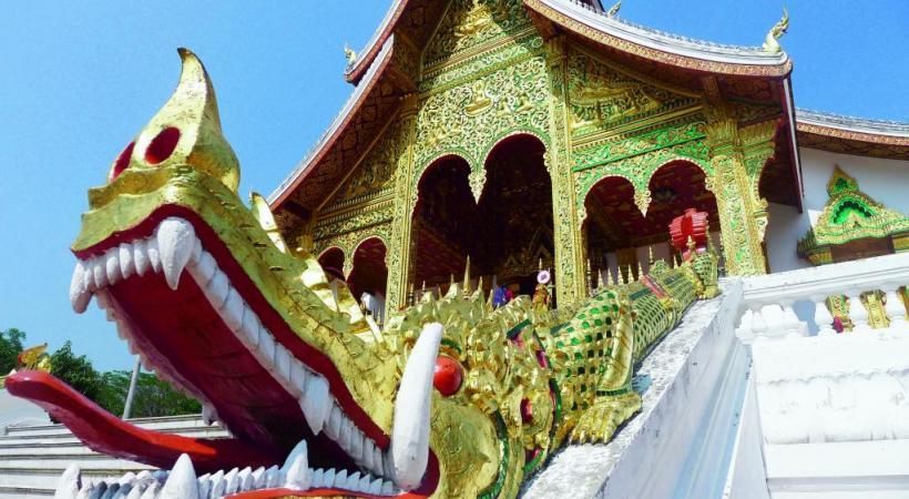 Le Vat Ho Pra Bang, le temple situé dans l'enceinte du palais royal, qui abrite le Phra Bang, le Bouddha d'or ayant donné le nom à la ville de Luang Prabang.