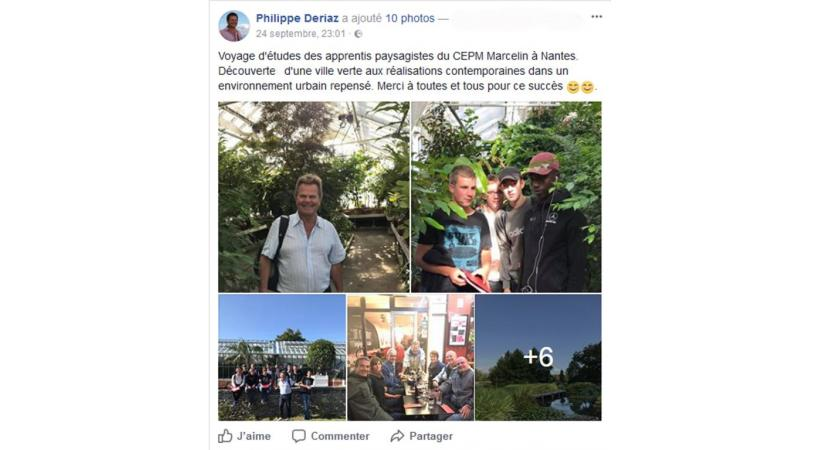 Le commentaire du municipal sur son compte Facebook, au retour du voyage d'études à Nantes.DR