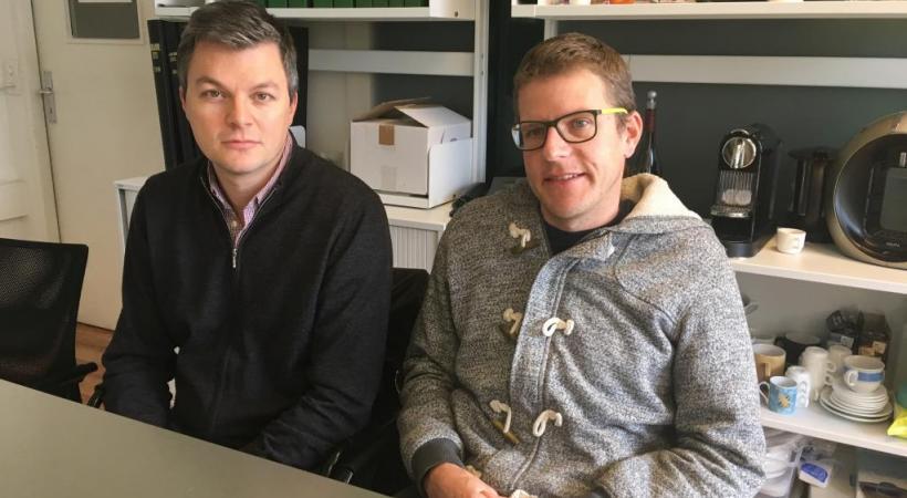 Denis Corboz à gauche, et Bastien Marmier responsable de Table Suisse. Ca