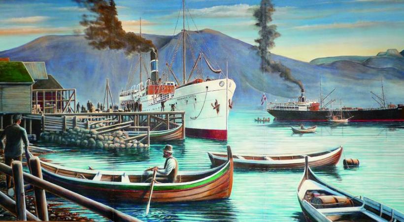 La riche histoire de la compagnie Hurtigruten a inspiré les artistes. DR