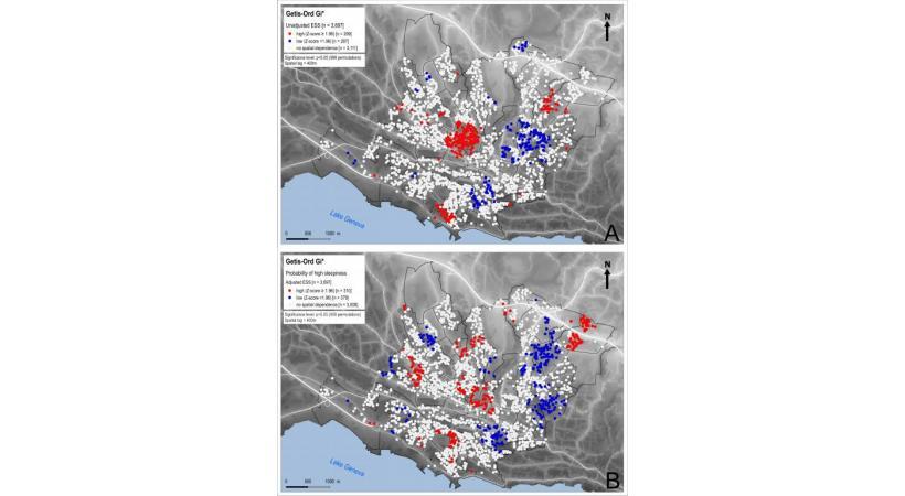 Les zones rouges représentent les quartiers où la virulence de la somnolence diurne est associée au bruit nocturne, donc où on dort particulièrement mal. DR