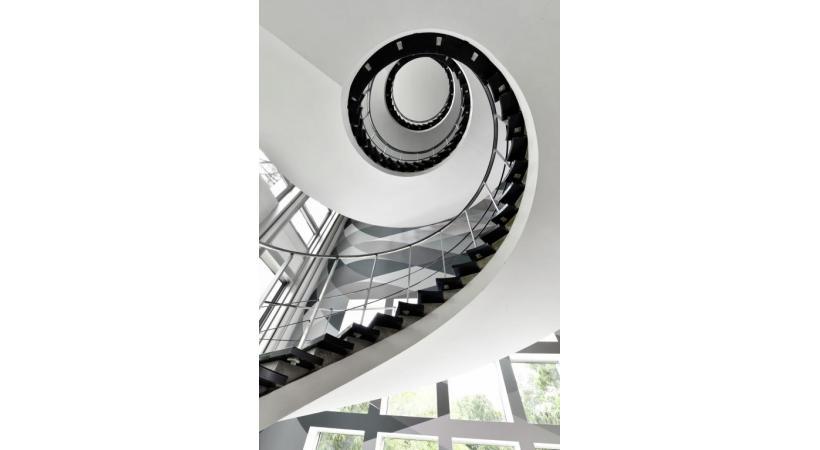 L'escalier monumental  du siège de la Vaudoise. LUC JACCARD