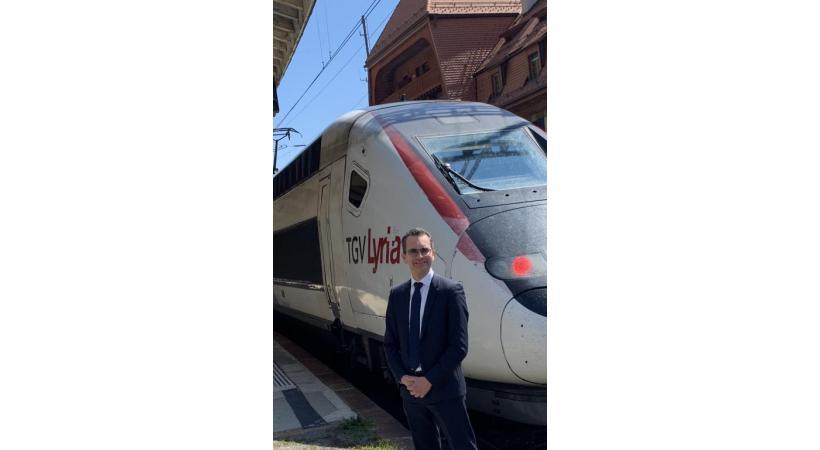 Fabien Soulet, directeur général de TGV Lyria en gare de Vallorbe. DR