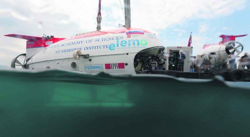 Le submersible russe lors des recherches sur le Léman en 2011.