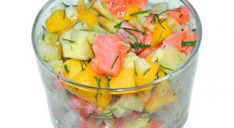 Tartare de saumon, mangue et fenouil
